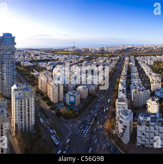 Tel Aviv skyline at sunset / Aerial view of Tel Aviv - Stock Image