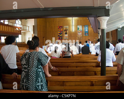 Pacific Island people attending Wesley Methodist Church, Taranaki Street, Wellington, New Zealand - Stock Image