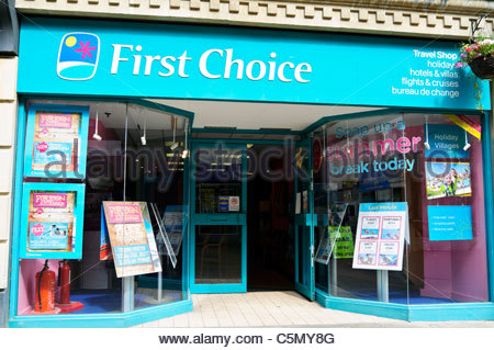 First Choice travel agents shop, Stroud, UK. - Stock-Bilder