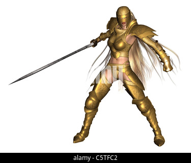 Golden Female Fantasy Warrior - fighting pose - Stock Image