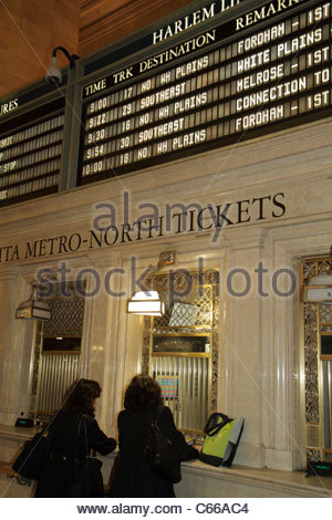 Manhattan New York City NYC NY Midtown 42nd Street Grand Central Station railroad train terminal interior ticket - Stock Image