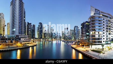 Spectacular skyline at night, Dubai Marina, Dubai, United Arab Emirates, Middle East - Stock Image