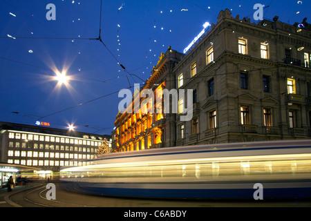 Switzerland, Zurich, credit suisse, bank UBS Bahnhofstrasse,Paradeplatz, Tram - Stock Image