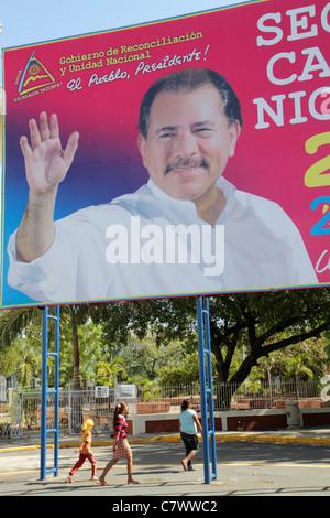 Managua Nicaragua Area Monumental Central Park political billboard Daniel Ortega President government socialist - Stock Image