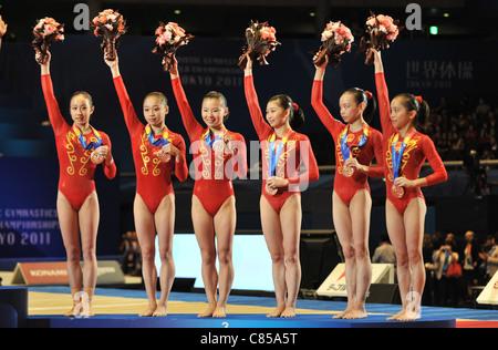 Team China (CHN) line-up during the 2011 Artistic Gymnastics World Championships. - Stock-Bilder