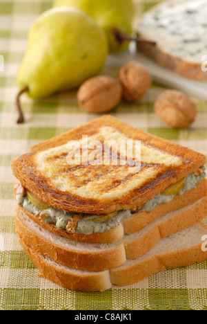 Fourme d'Ambert,pear and walnut toasted sandwich - Stock Image