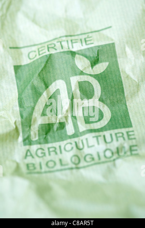 Organic farming paper bag - Stock Image