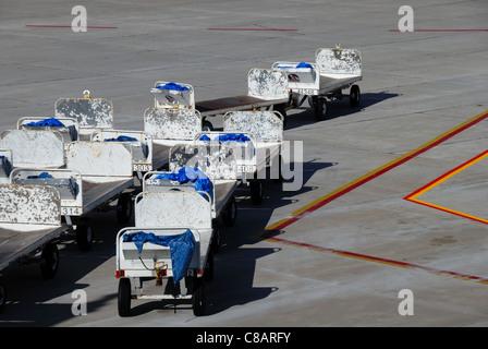 Baggage transport vehicles on an airport runway, Tampa, Florida. - Stock-Bilder