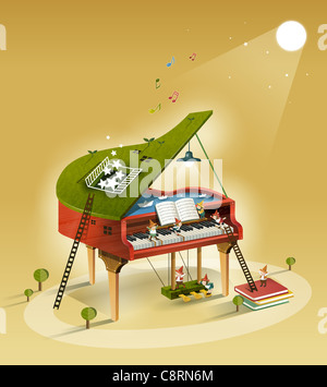 People Playing Piano - Stock-Bilder