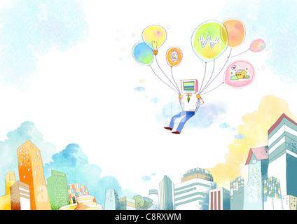 Illustration of man flying with balloons - Stock-Bilder