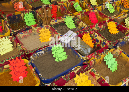 France, Nice, old city center market stall with spices - Stock Image