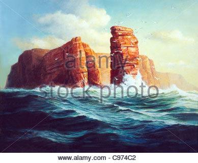 Island Helgoland lgemlde - Stock-Bilder