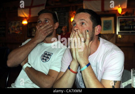 Brighton UK 24 June 2012 - Tense moments for England fans at the Long Man of Wilmington pub in Patcham Brighton - Stock Image