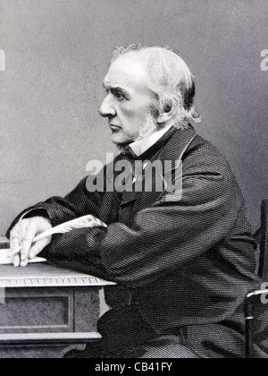 Antique engraving of The Right Honourable William Ewart Gladstone MP (1809-1898), British Prime Minister - Stock Image