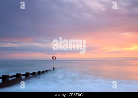 Sunrise, Swanage Bay, Dorset, UK - Stock Image