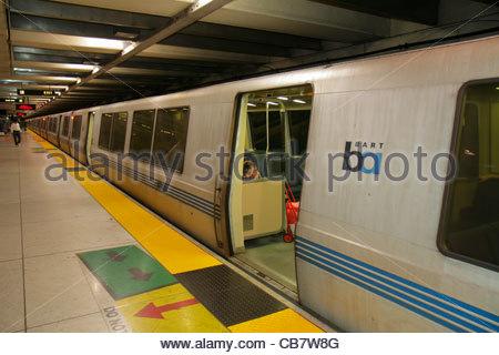 California San Francisco Market Street BART Montgomery Station rapid transit public transportation subway system - Stock Image