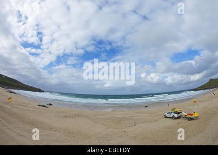 RNLI Lifeguards on Porthmeor beach, Atlantic ocean, St Ives, Cornwall, Southwest, England, UK, United Kingdom, GB, - Stock Image