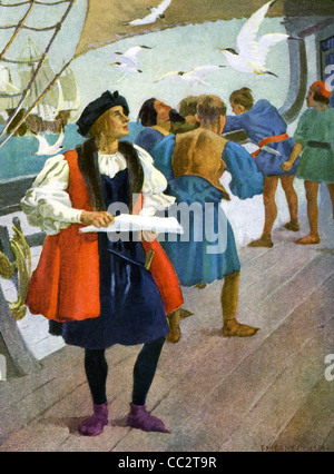 In September 1492,  Columbus and his crew, uneasy about reaching land, saw birds and knew land was not far away. - Stock-Bilder