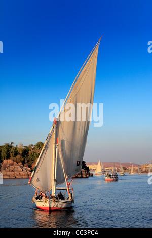 Feluccas on the Nile, Aswan, Egypt - Stock Image