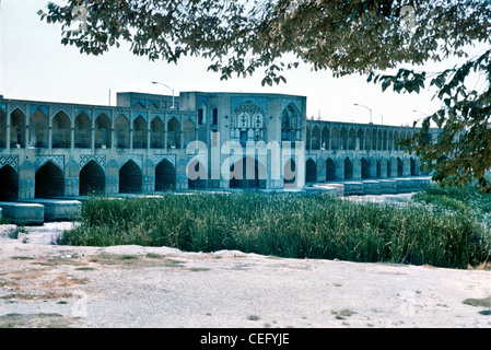 IRAN, ISFAHAN: Khaju Bridge is the finest bridge in the province of Isfahan, Iran. It was built by the Persian Safavid - Stock Image