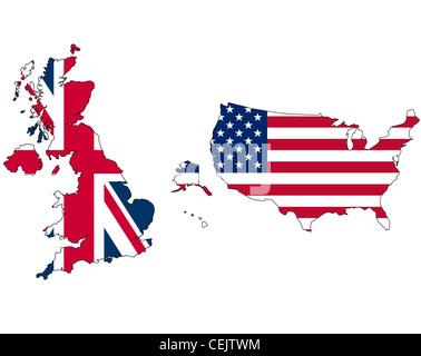 Uk And Usa Union Jack Flag Inside Map Stock Image