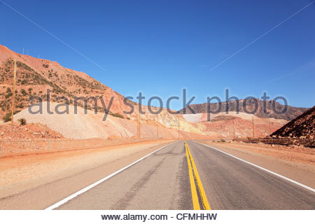 U S Highway 191 passes through mining area north of Morenci Arizona - Stock Image