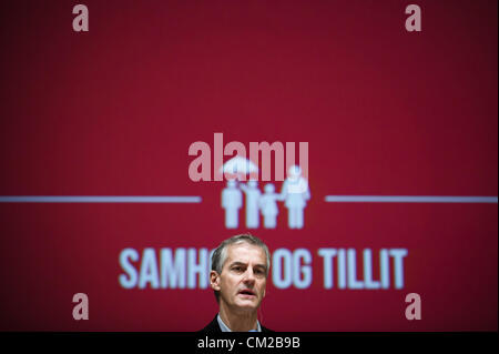 Oslo, Norway. 19/09/2012. Norwegian Minister of foreign affairs  Jonas Gahr Store during the Labour Party conference - Stock Image