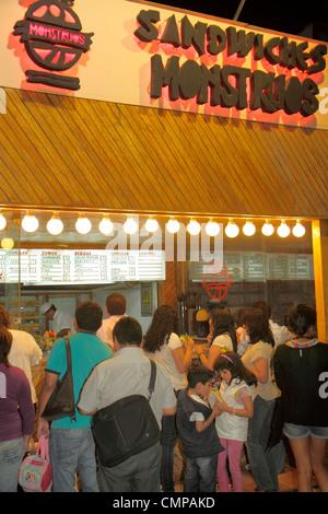 Peru Lima Barranco Avenida Pierola Sandwiches Monstruos sandwich shop fast food restaurant business counter menu - Stock Image