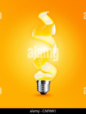 light bulb made from orange peel, light bulb conceptual Image. - Stock-Bilder
