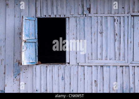Open Window hatch in a wooden wall. Kalaw, Burma - Stock-Bilder