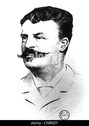 Maupassant, Guy de, 5.8.1850 - 7.7.1893, French author / writer, portrait, engraving, beard, moustache, France, - Stock Image