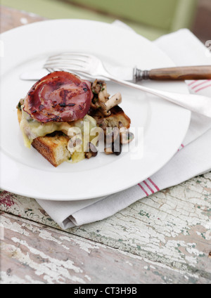 Plate of bacon, egg and toast - Stock Image
