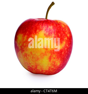 Red and yellow apple isolated on white, clipping path provided, soft shadow underneath. - Stock Image