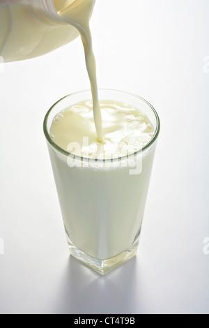 Full glass of milk being poured from modern plastic milk bottle. - Stock Image
