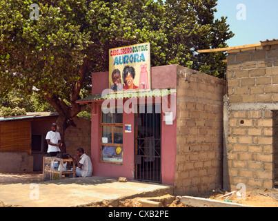 Small clothes shop. Ponta do Ouro, southern Mozambique. - Stock Image