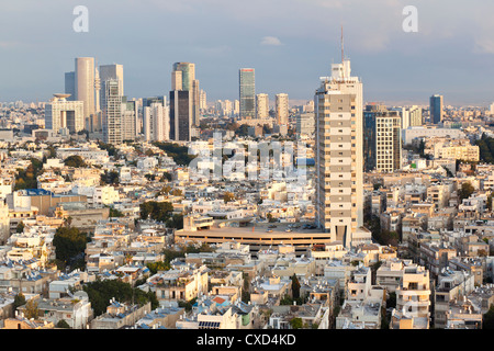 Elevated city view towards the commercial and business centre, Tel Aviv, Israel, Middle East - Stock Image