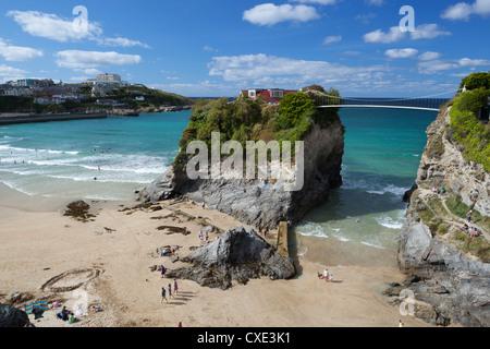 Towan beach and The Island, Newquay, Cornwall, England - Stock Image