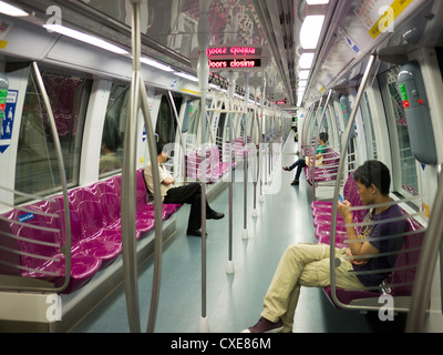 Mass Rapid Transit (MRT) Interior of carriage, Singapore - Stock Image