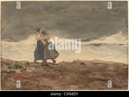 Winslow Homer, Danger, American, 1836 - 1910, 1883 and 1887, watercolor and gouache over graphite - Stock-Bilder