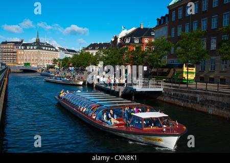 Tourist sightseeing cruise tour boat Borsgraven canal central Copenhagen Denmark Europe - Stock Image