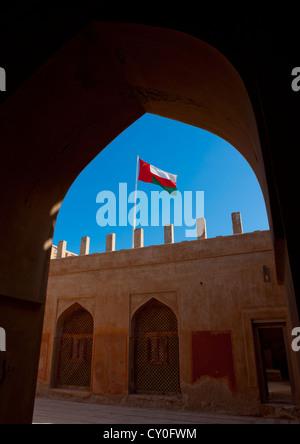 Omani Flag On A Fort, Sur, Oman - Stock Image