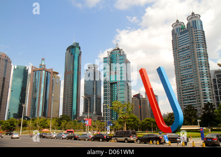 Shanghai China Pudong Lujiazui Financial District Century Avenue China Insurance Building World Finance Tower China - Stock Image