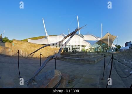 Exterior of Our Dynamic Earth, Holyrood, Edinburgh, Scotland, United Kingdom, Europe - Stock Image