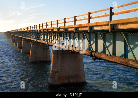 Florida Florida Keys US Route 1 One Overseas Highway Marathon Old Sevenmile Seven Mile Historic Bridge Gulf of Mexico - Stock Image