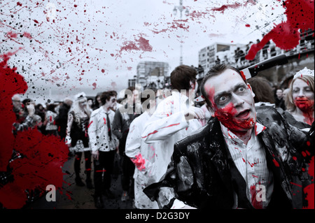 Zombies taking part in the Brighton Zombie Parade 2012 - Stock Image