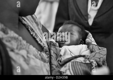 An African baby in Uganda who is severely ill - Stock Image