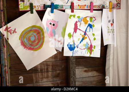 Children art work displayed - Stock-Bilder