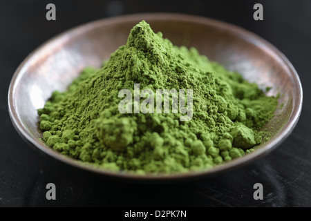Powdered Green Tea, Matcha Tea in a bowl - Stock Image