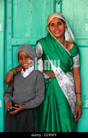 Indian mother and son, Nandgaon, Uttar Pradesh, India, Asia - Stock Image