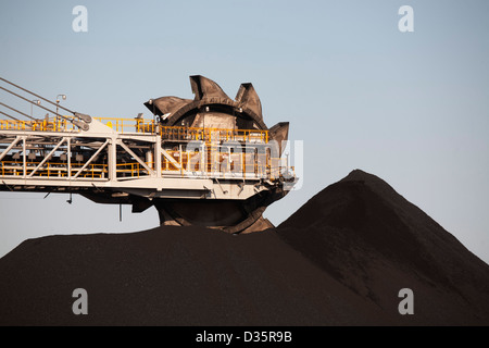 The giant Kooragang Coal Loader stockpiles millions of tons of coal for export each year at  Port Newcastle Australia - Stock Image